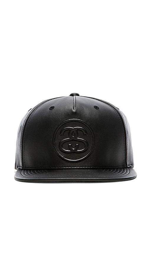 010d6af7728 Stussy 3D SS Faux Leather Snapback in Black