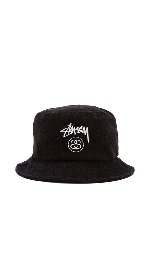 Stussy Terry Stock Lock Bucket Hat in Black  e1686fad2e