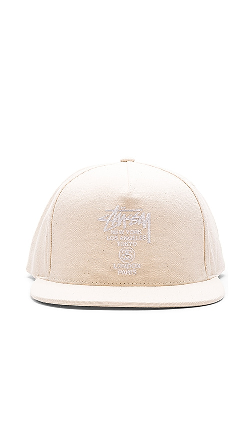 2c6c20da117 Stussy World Tour SP16 Canvas Snapback in Natural