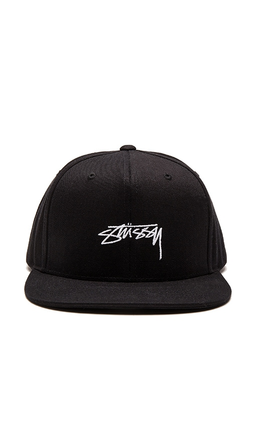 Stussy Smooth Stock Enzyme Snapback in Black