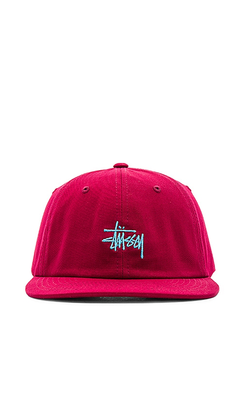 Stussy Basic Logo Twill Cap in Red