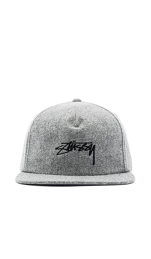 eb4595fbfc1 Stussy Smooth Stock Melton Wool Strapback in Grey Heather