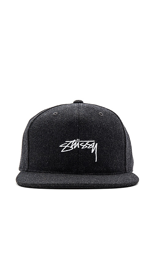 Stussy Smooth Stock Melton Wool Snapback in Charcoal