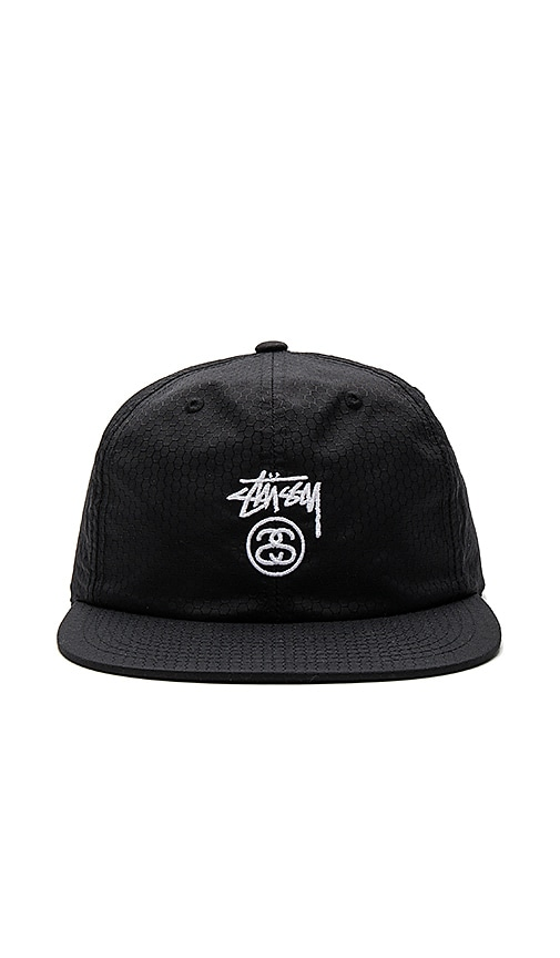Stussy Stock Lock Honeycomb Strapback in Black