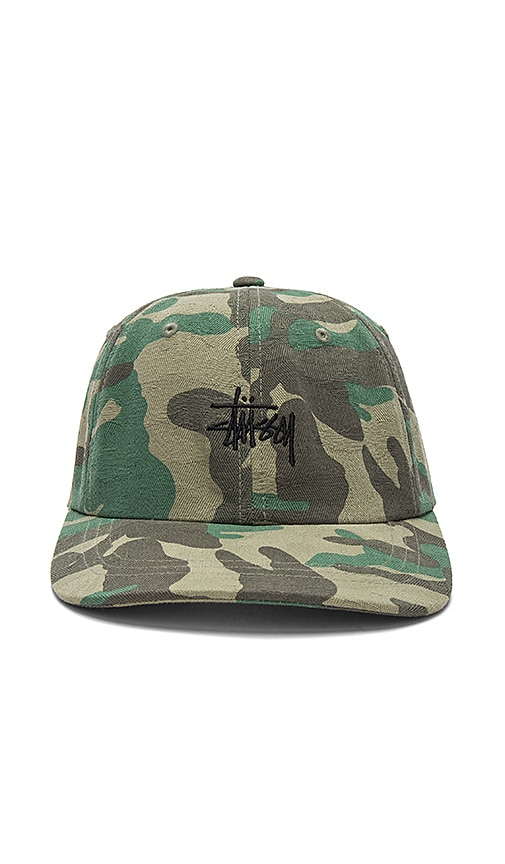 Stussy Jacquard Camo Low Cap in Army