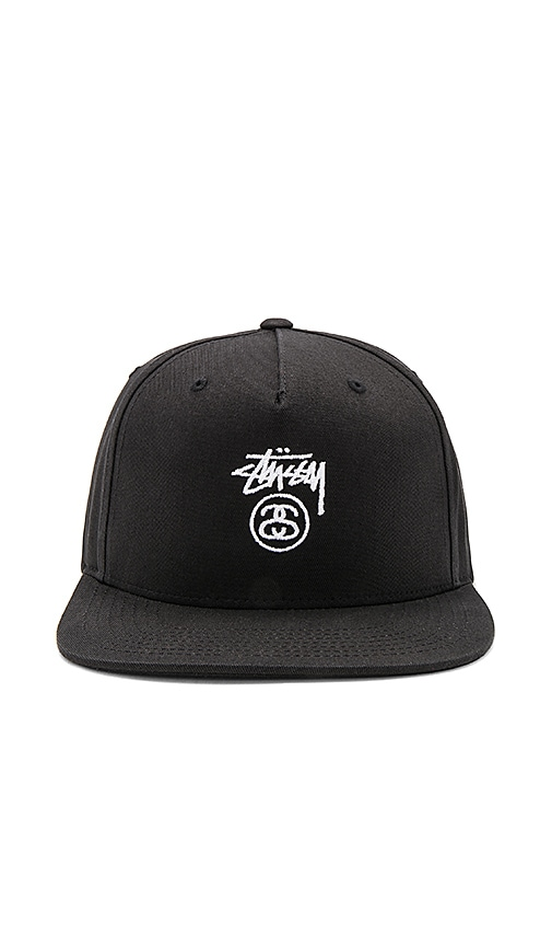 Stussy Stock Lock Snapback in Black