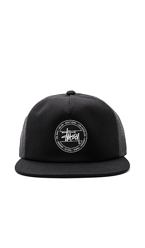 Stussy Dot Trucker Hat in Black