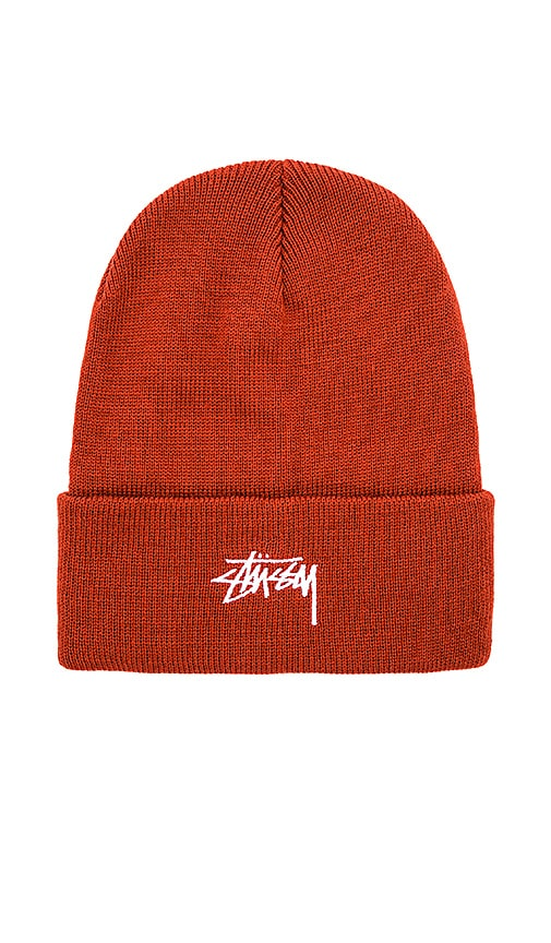 Stussy Stock FA17 Cuff Beanie in Rust
