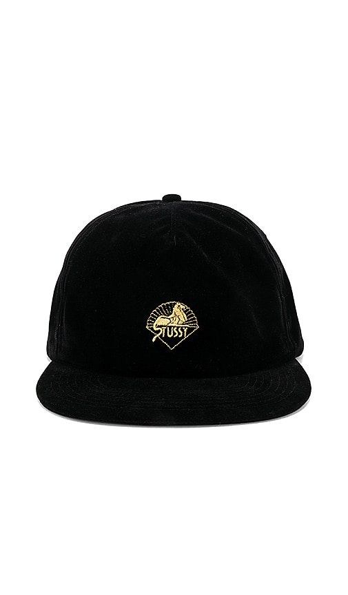 Stussy Gold Velvet Snapback in Black