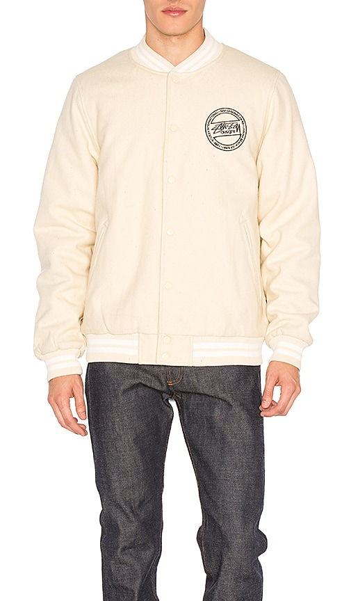 Stussy Stock Varsity Jacket in Beige