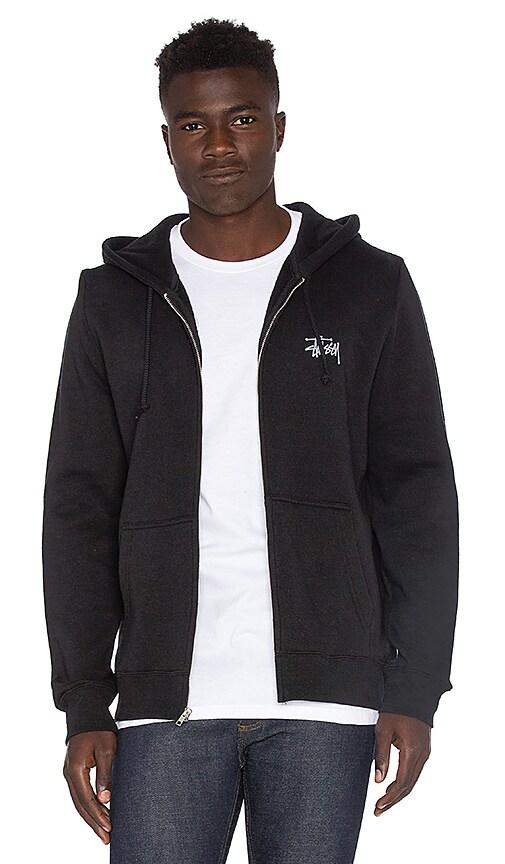 Stussy Basic Stussy Zip Hoody in Black