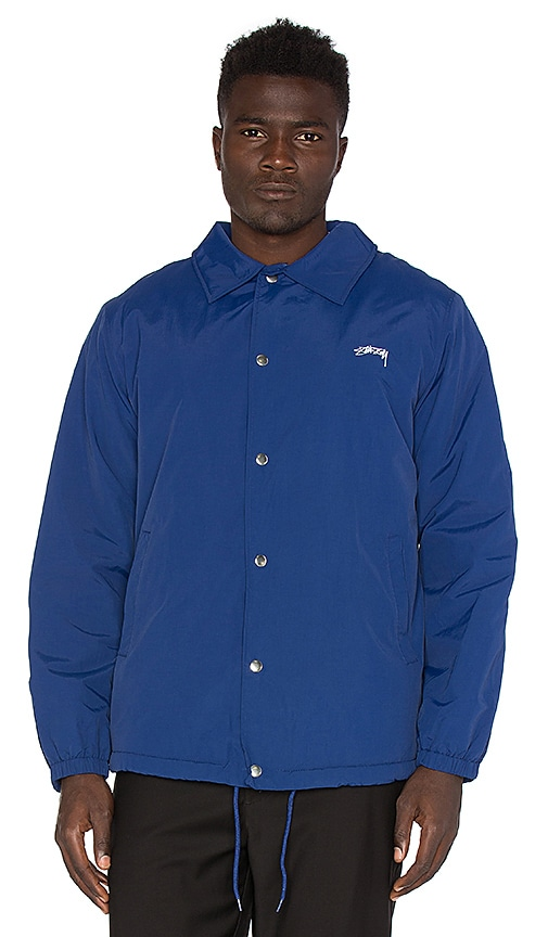 Stussy Smooth Stock Coach Jacket with Faux Fur Lining in Blue