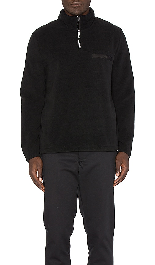Stussy Logo Tape Mock Pullover in Black