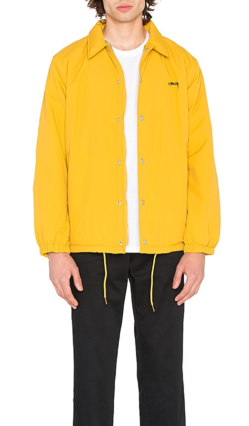 Stussy Smooth Stock Faux Fur Coach Jacket in Yellow