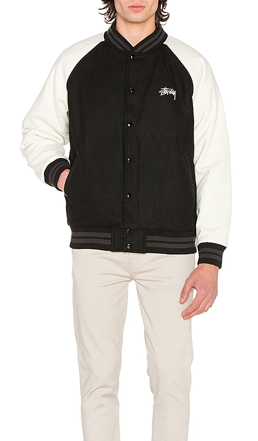 Stussy Two Tone Wool Varsity Jacket in Black & White