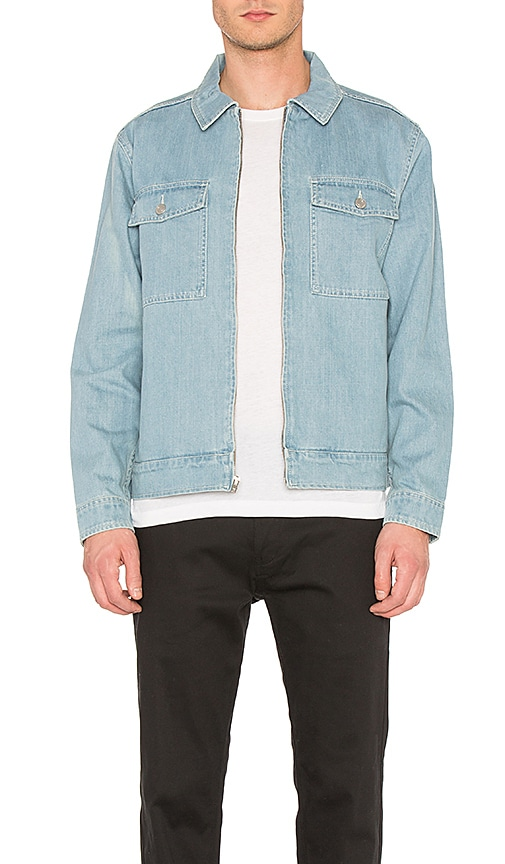 Stussy Washed Denim Garage Jacket in Light Blue