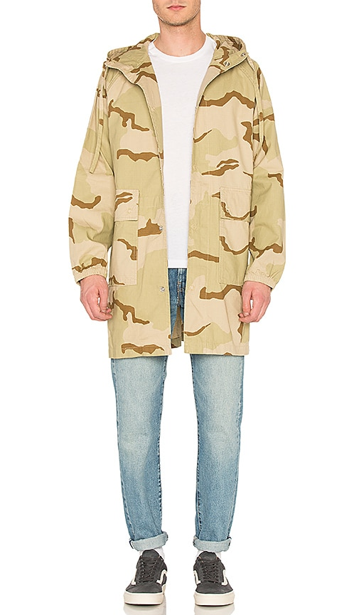Stussy Light Ripstop Hooded Jacket in Beige