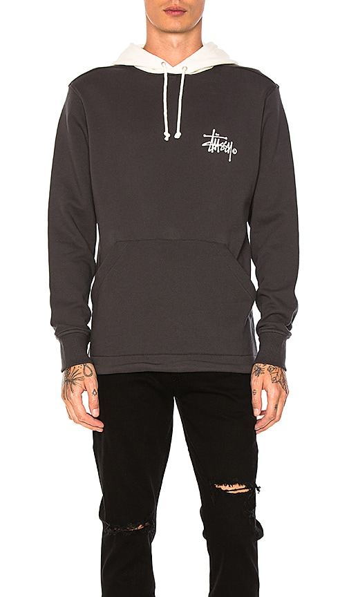 Stussy Two Tone Hoodie in Charcoal