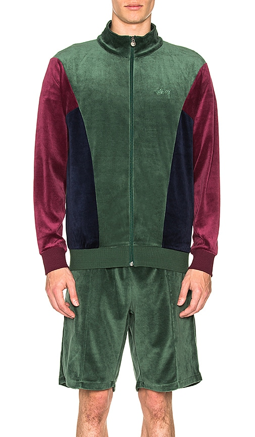 Stussy Velour Paneled Track Jacket in Green
