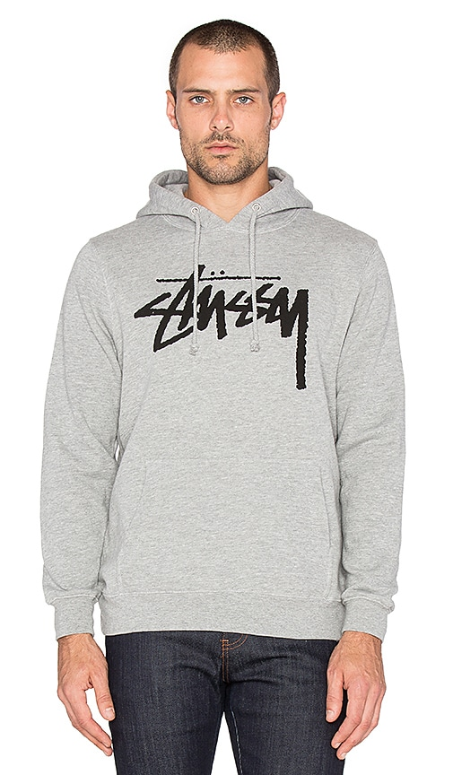 Stussy Stock Hoodie in Grey Heather