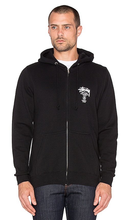 Stussy World Tour Zip Hoodie in Black