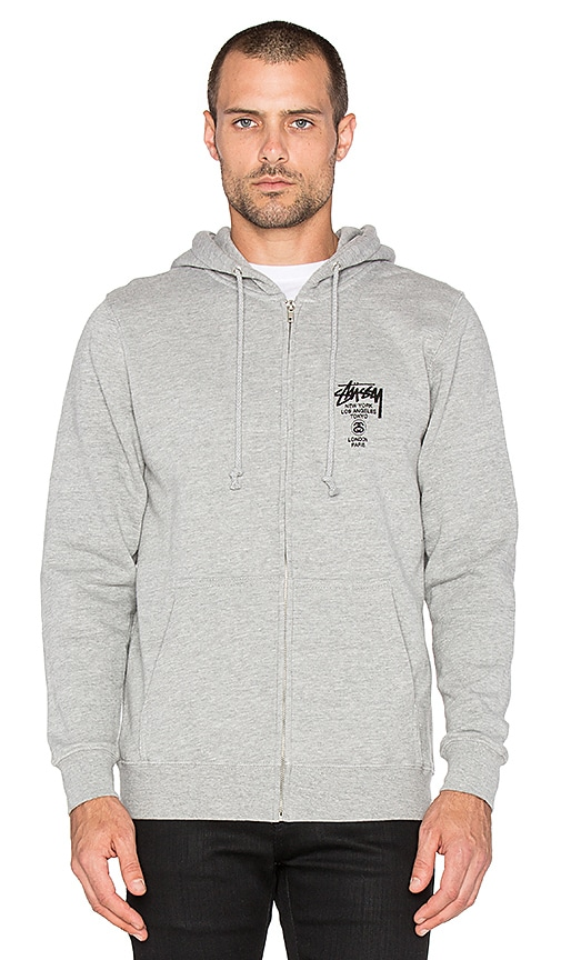 Stussy World Tour Zip Hoodie in Grey Heather