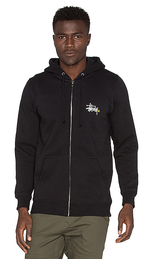 975f9096b84 Stussy Basic Logo Zip Hood in Black