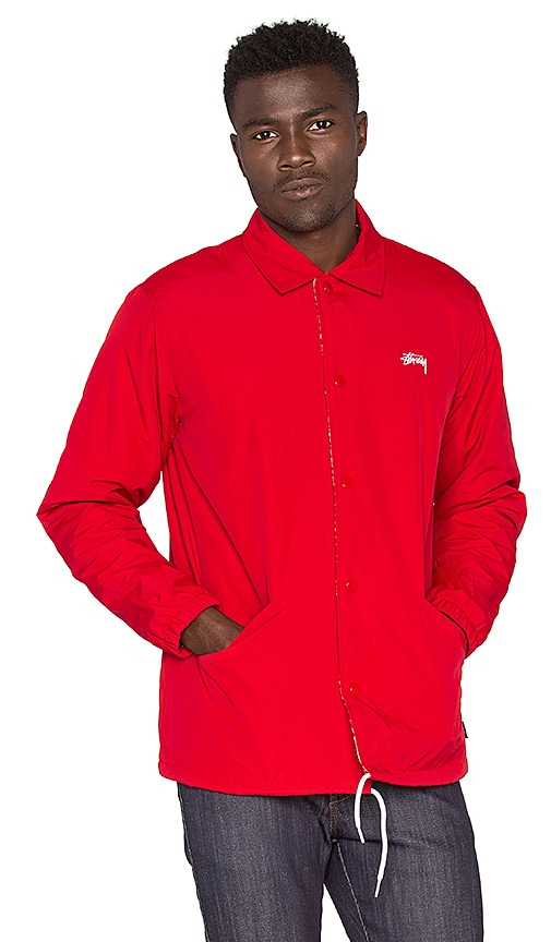 Stussy SS Link Coaches Jacket in Red