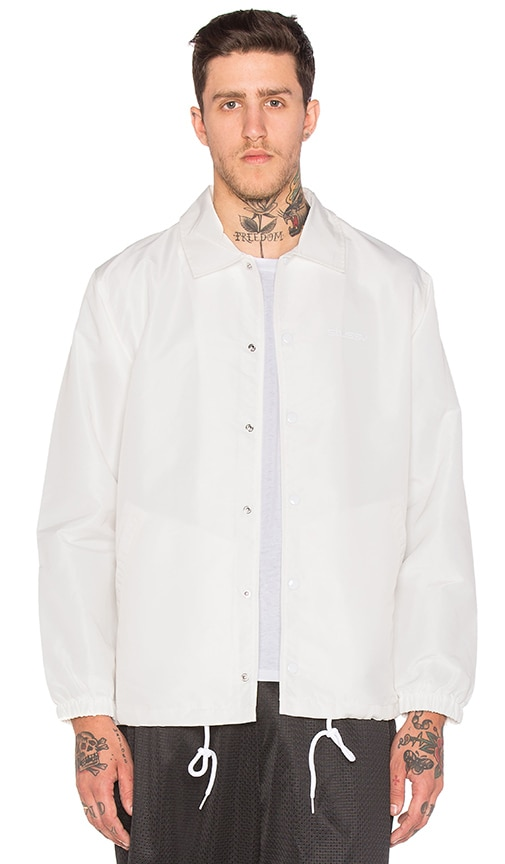 Stussy Logo Coach Jacket in White