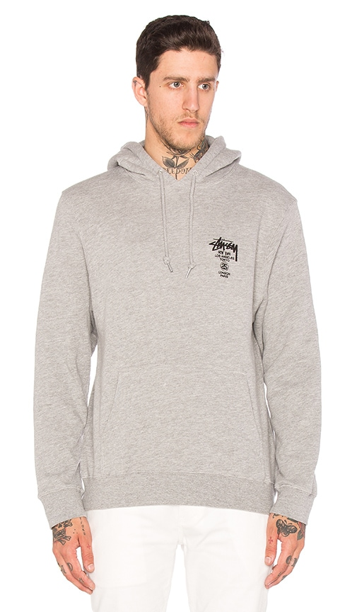 Stussy World Tour Hoody in Grey Heather