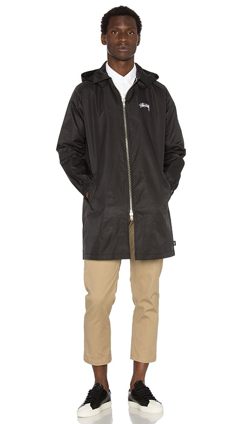 Stussy Hooded Mac Jacket in Black