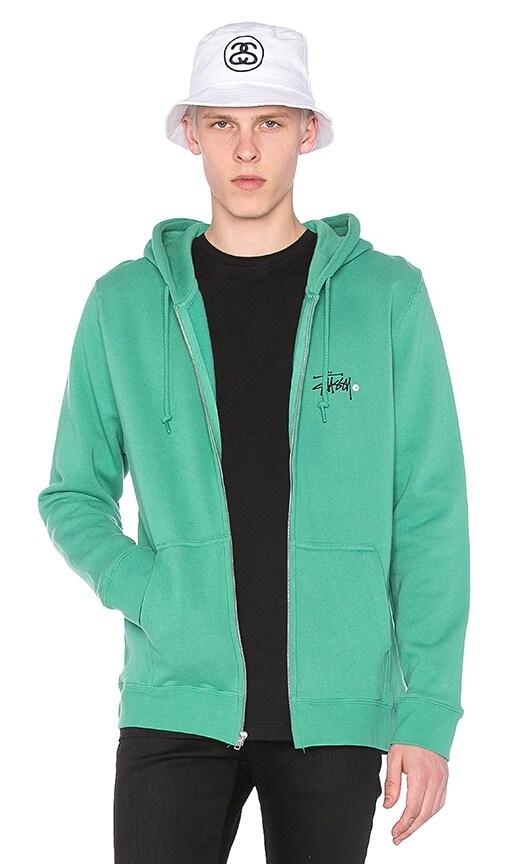Stussy Basic Logo Zip Hoody in Green