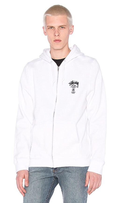 Stussy World Tour Zip Hoody in White