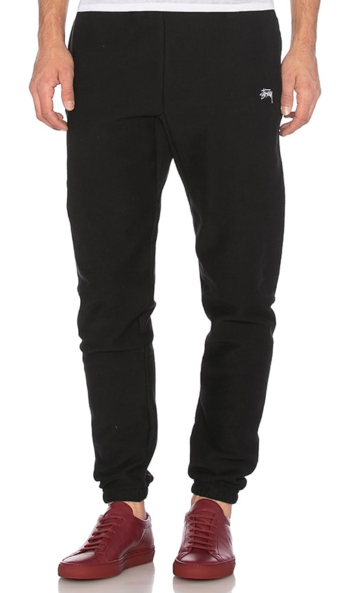 Stussy Stock Fleece Pants in Black