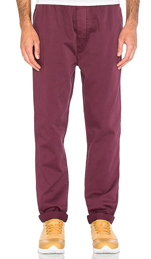Stussy Garment Dyed Beach Pant in Burgundy