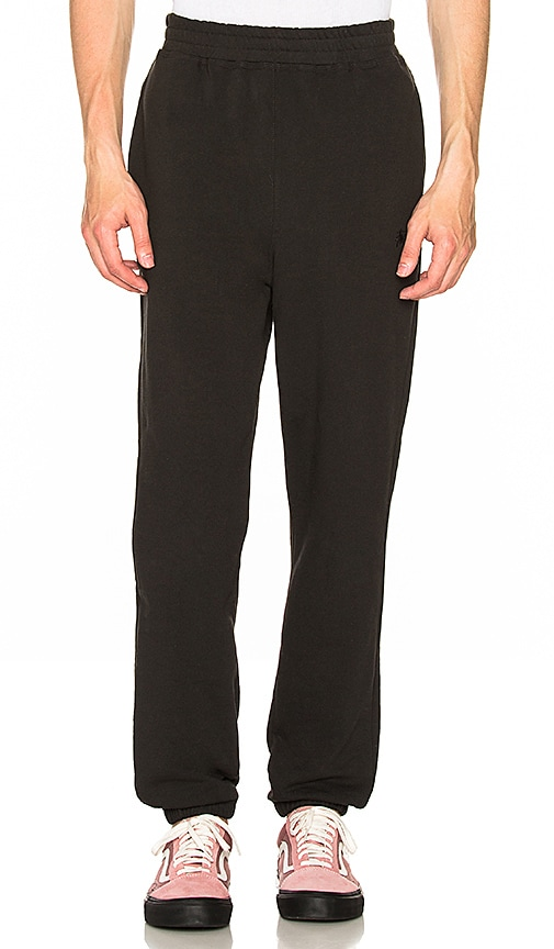 Stussy Overdye Stock Fleece Pant in Black