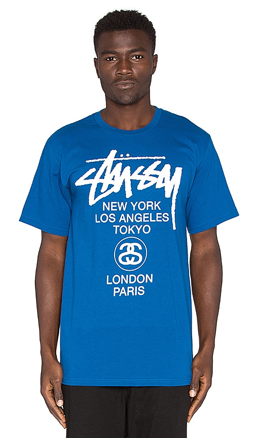 Stussy World Tour Tee in Blue