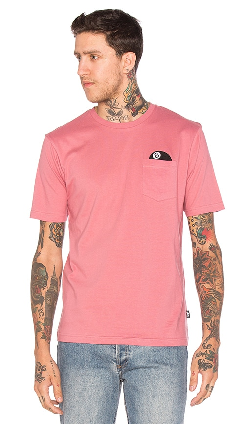 Stussy 8 Ball S/S Pocket Tee in Rose