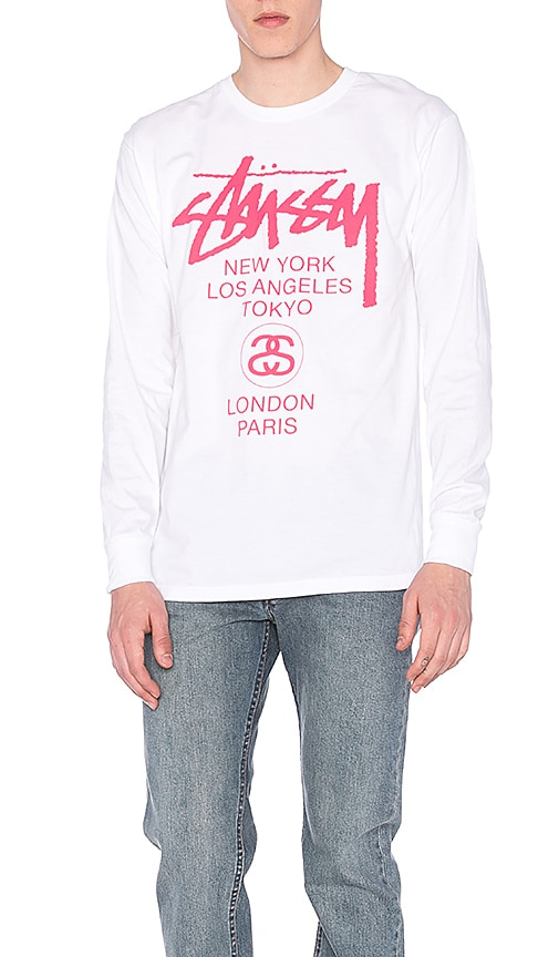 Stussy World Tour L/S Tee in White