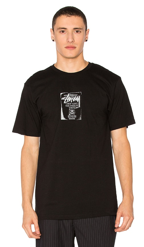 Stussy WT Stamp Tee in Black & White