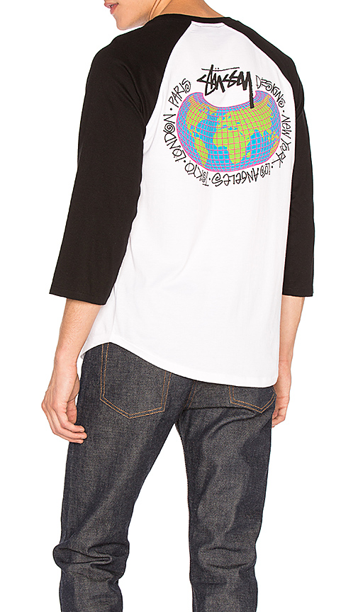 Stussy Global Designs Raglan Tee in White