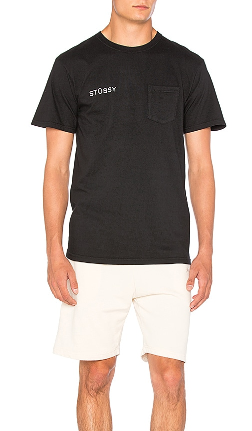 Stussy Zine Pocket Tee in Black & White
