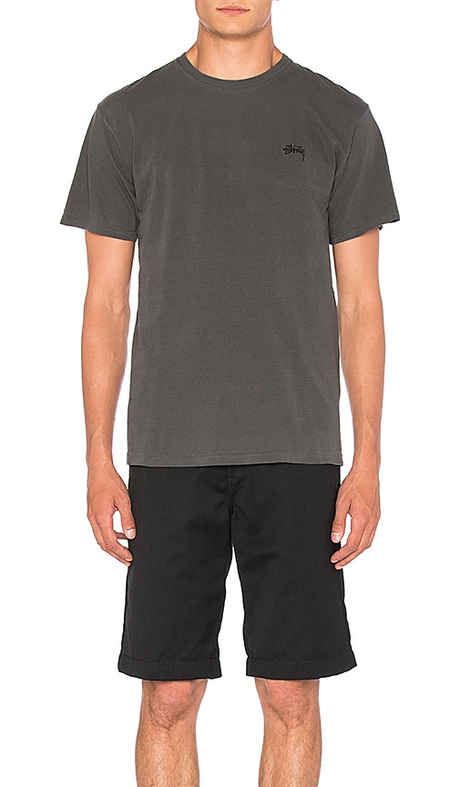 Stussy Small Stock Tee in Charcoal