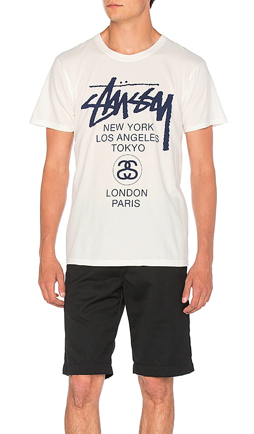 Stussy World Tour Tee in Natural
