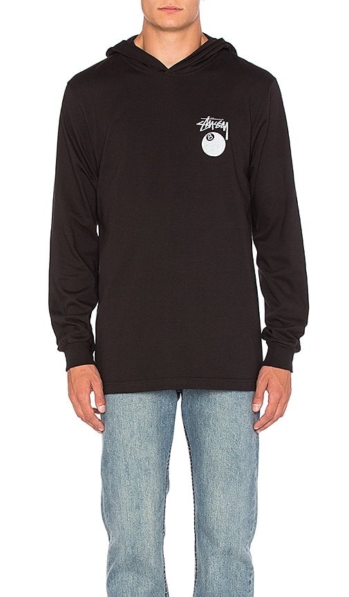 Stussy 8 Ball Stamp L/S Hood Tee in Black