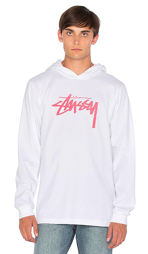 Stussy Stock Stamp L/S Hood Tee in White
