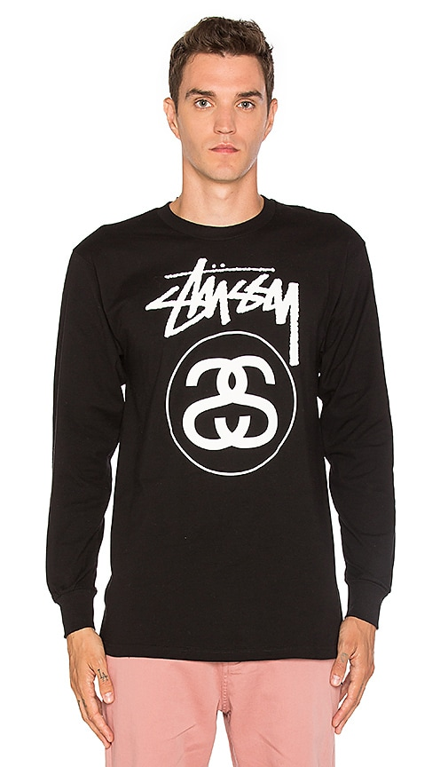 Stussy Stock Link L/S Tee in Black & White