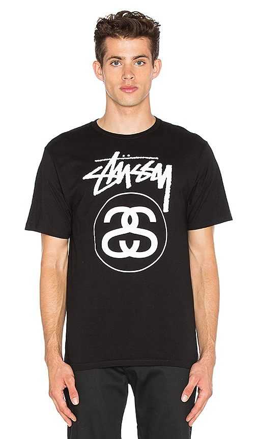 Stussy Stock Link Tee in Black & White