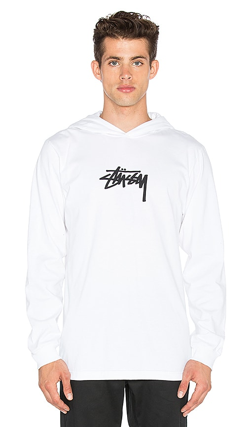 Stussy Marker Stock Hooded L/S Tee in White