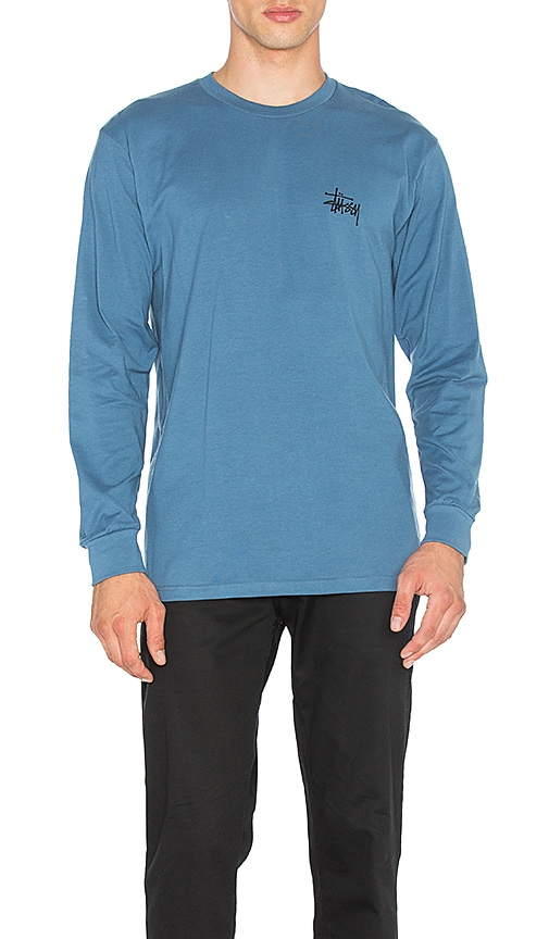 Stussy Basic Stussy L/S Tee in Blue
